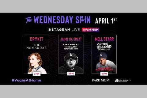 """A promotional image of Park MGM's """"The Wednesday Spin"""" virtual DJ party. (Park MGM)"""