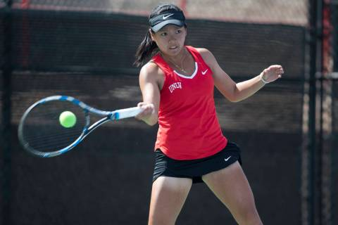 UNLV senior En-Pei Huang, shown in 2017, was named All-Mountain West in doubles for a fourth ti ...