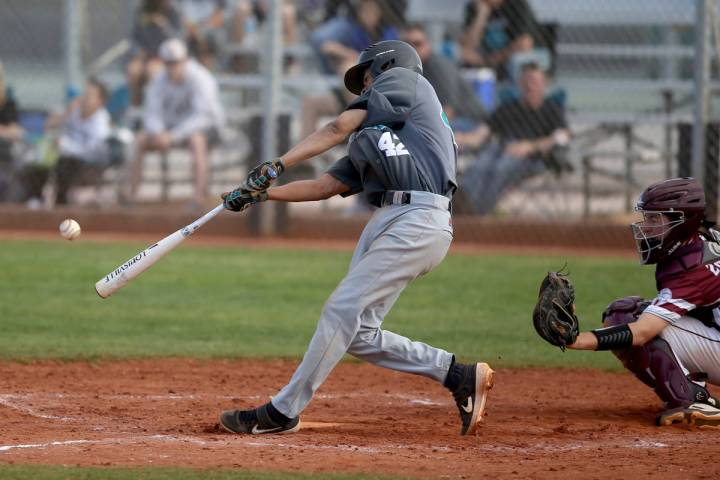 Silverado's Caleb Hubbard (42) hits against Cimarron-Memorial in the fourth inning of their bas ...