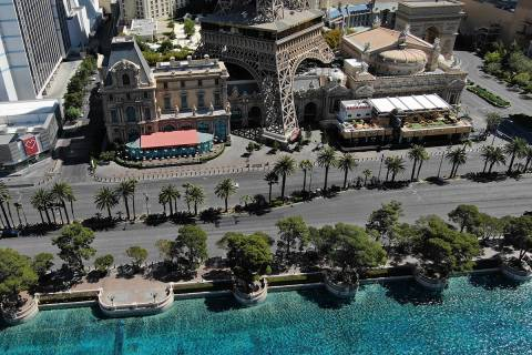 An aerial photo of the Las Vegas Strip after all Las Vegas casinos have been shut down during t ...