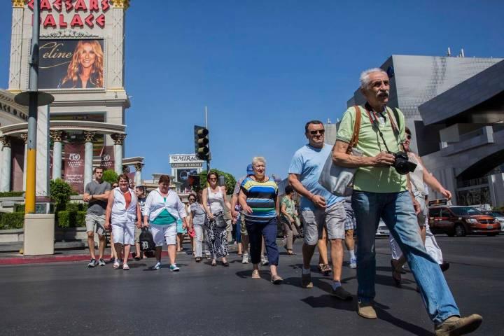 Tourists walk the Las Vegas Strip on Thursday, Sept. 22, 2016, in Las Vegas. Benjamin Hager/Las ...