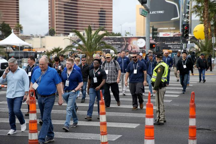 Conventioneers at the ConExpo-Con/Ag 2020 at the Las Vegas Convention Center Tuesday, March 10 ...
