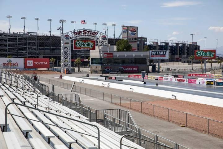 Empty bleachers at The Strip at the Las Vegas Motor Speedway in Las Vegas, Sunday, April 5, 202 ...