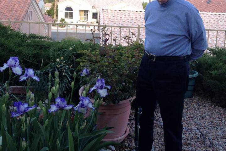 """Jerome """"Jerry"""" Countess in the backyard garden of his Summerlin home. (Jane Seda)"""