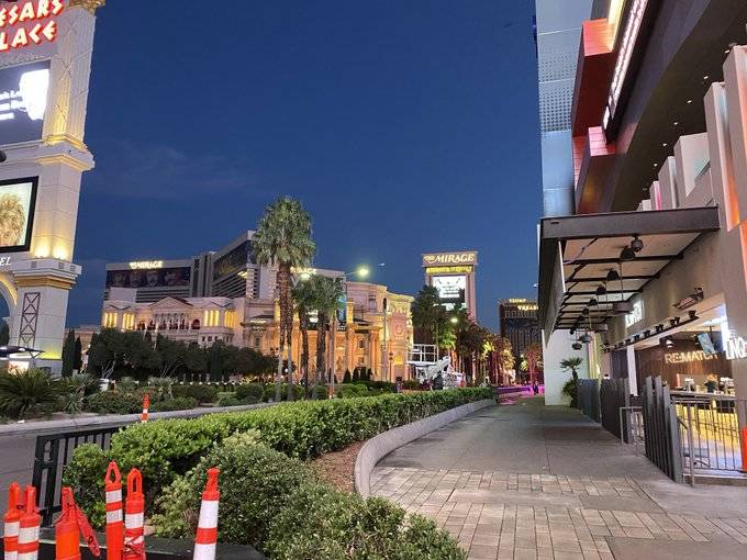 The heart of the Las Vegas Strip was almost a ghost town about 6 a.m. Monday, March 16, 2020, a ...