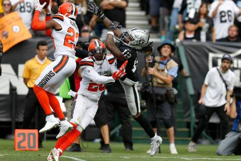 Cleveland Browns strong safety Damarious Randall (23) intercepts a pass intended for Oakland Ra ...