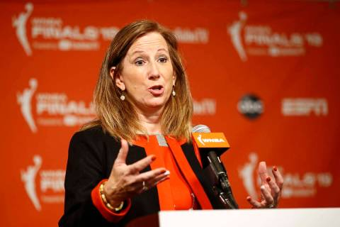 In this Sept. 29, 2019, file photo, WNBA Commissioner Cathy Engelbert speaks at a news conferen ...
