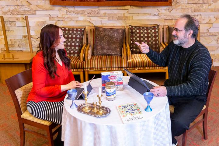 Rabbi Sanford Akselrad, right, and Cantor Jessica Hutchings discuss their upcoming streaming of ...