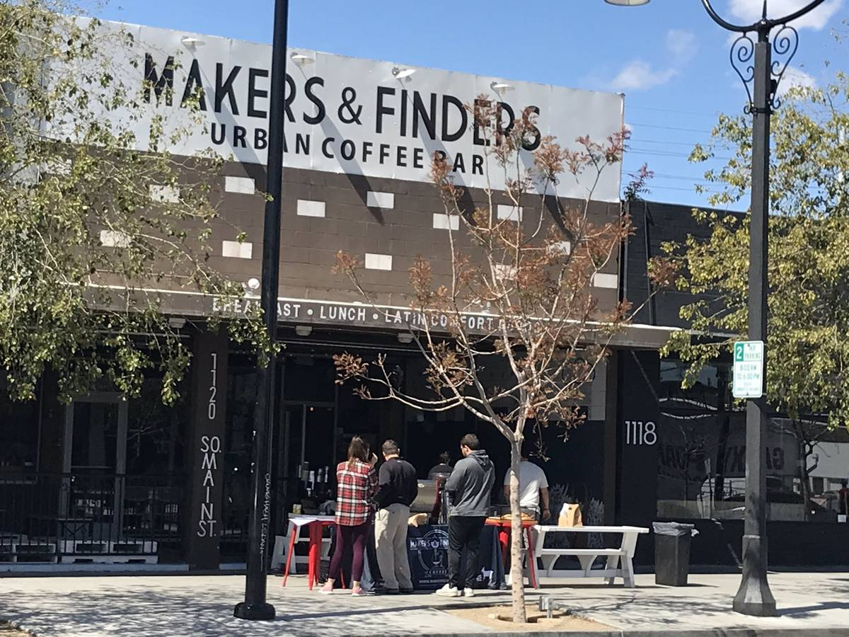 Makers & Finders coffee bar on South Main Street in Las Vegas was open for business Saturda ...