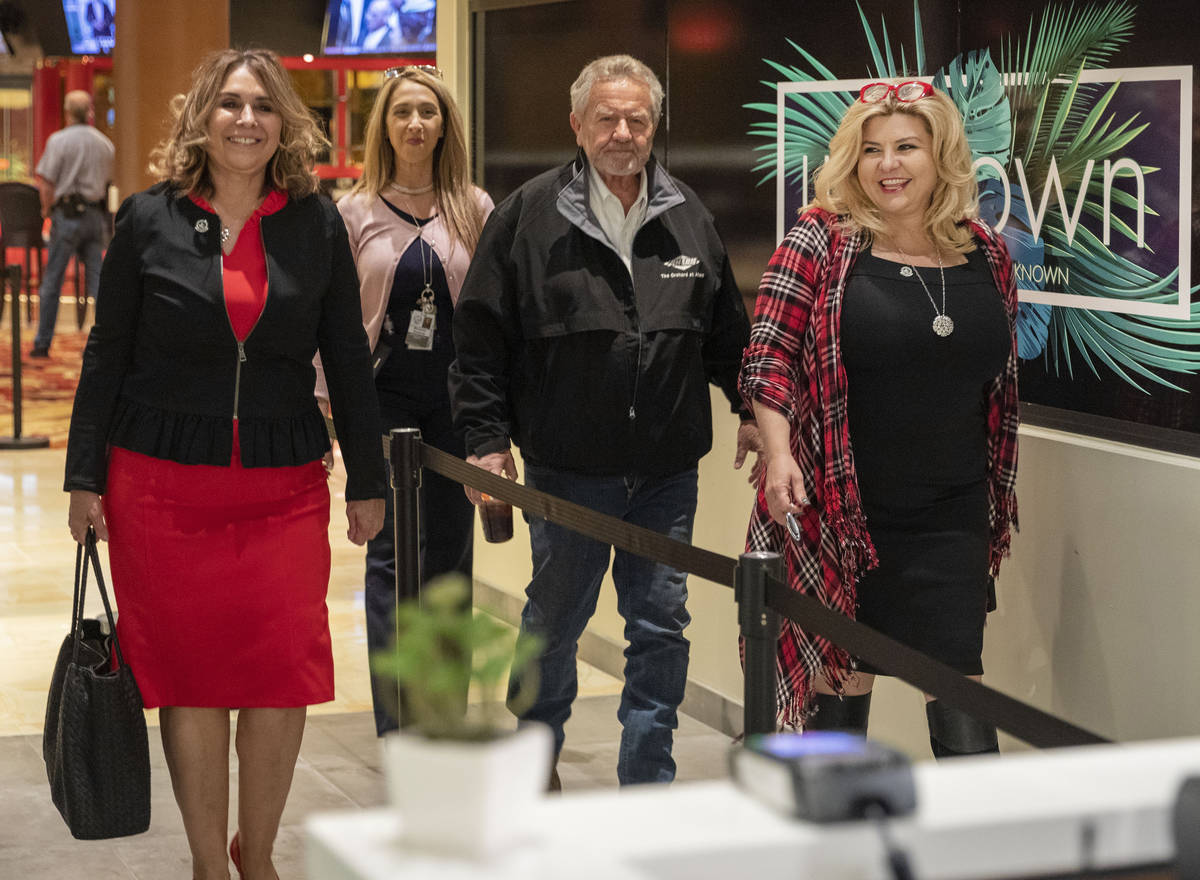 Las Vegas Councilwoman Victoria Seaman, left, Mayor Pro Tem coordinator Marianne Rombola, Ahern ...