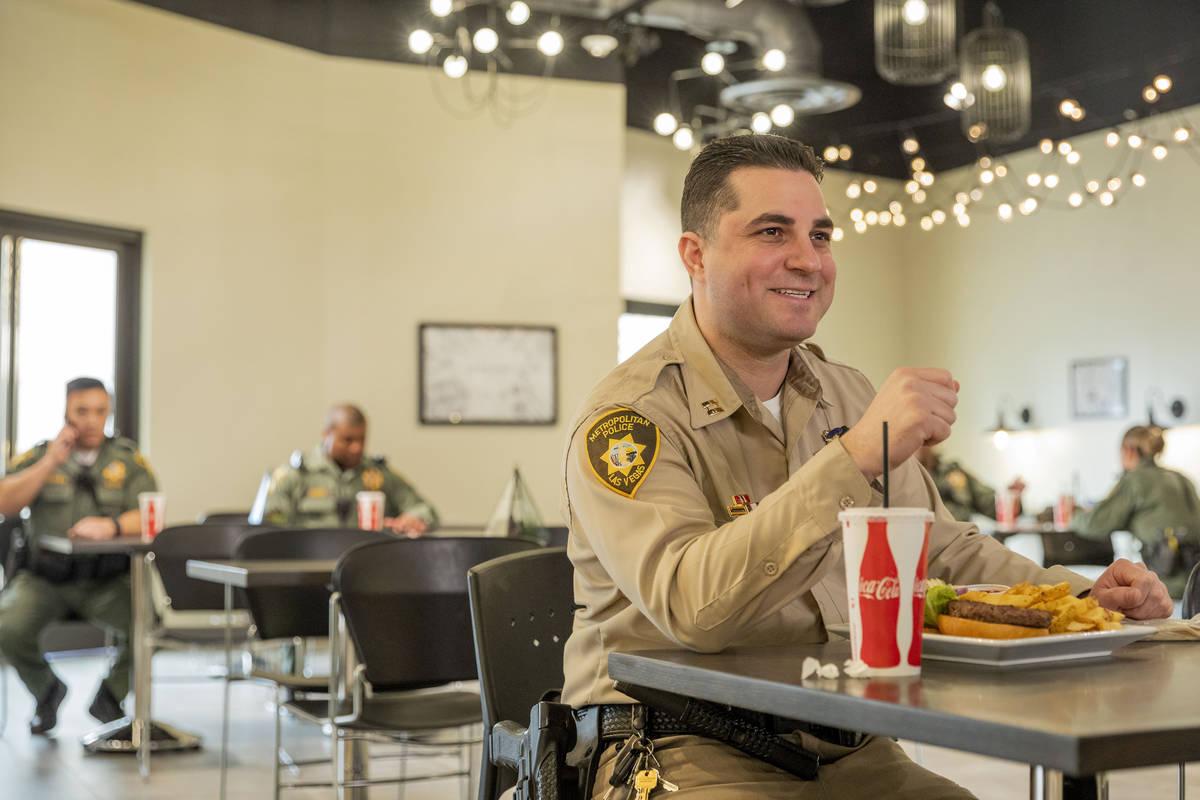 The Las Vegas Metropolitan Police Department Lt. Dori Koren eats a meal provided for first resp ...