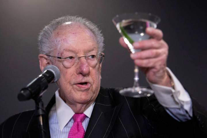 Former Las Vegas Mayor Oscar Goodman toasts to the new William Hill Race & Sports Book on Frida ...