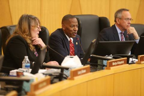 Clark County Commissioner Lawrence Weekly speaks during a board meeting at the Clark County Com ...