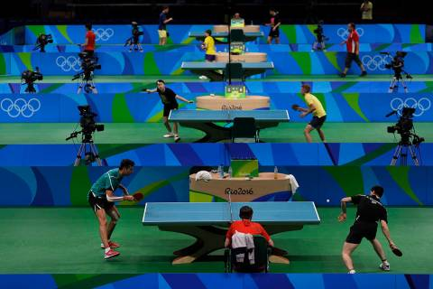 Table tennis players take part in a training session at the at the Riocentro ahead the 2016 Sum ...