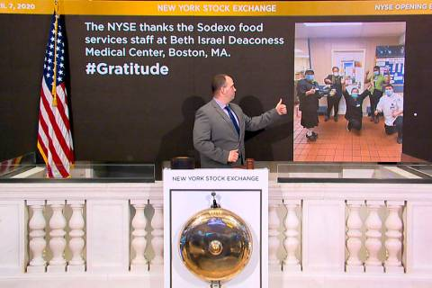 Tommy Gannon, assistant supervisor, Facilities, rings the opening bell at the New York Stock Ex ...