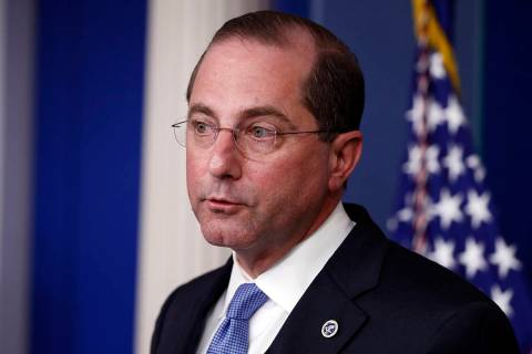 Health and Human Services Secretary Alex Azar speaks about the coronavirus in the James Brady P ...