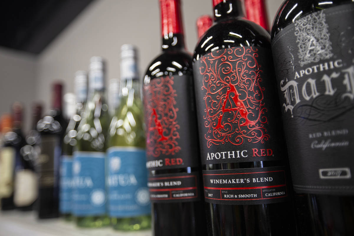 Rows of wine bottles at Liquor Emporium on Tuesday, April 7, 2020, in Las Vegas. The business j ...