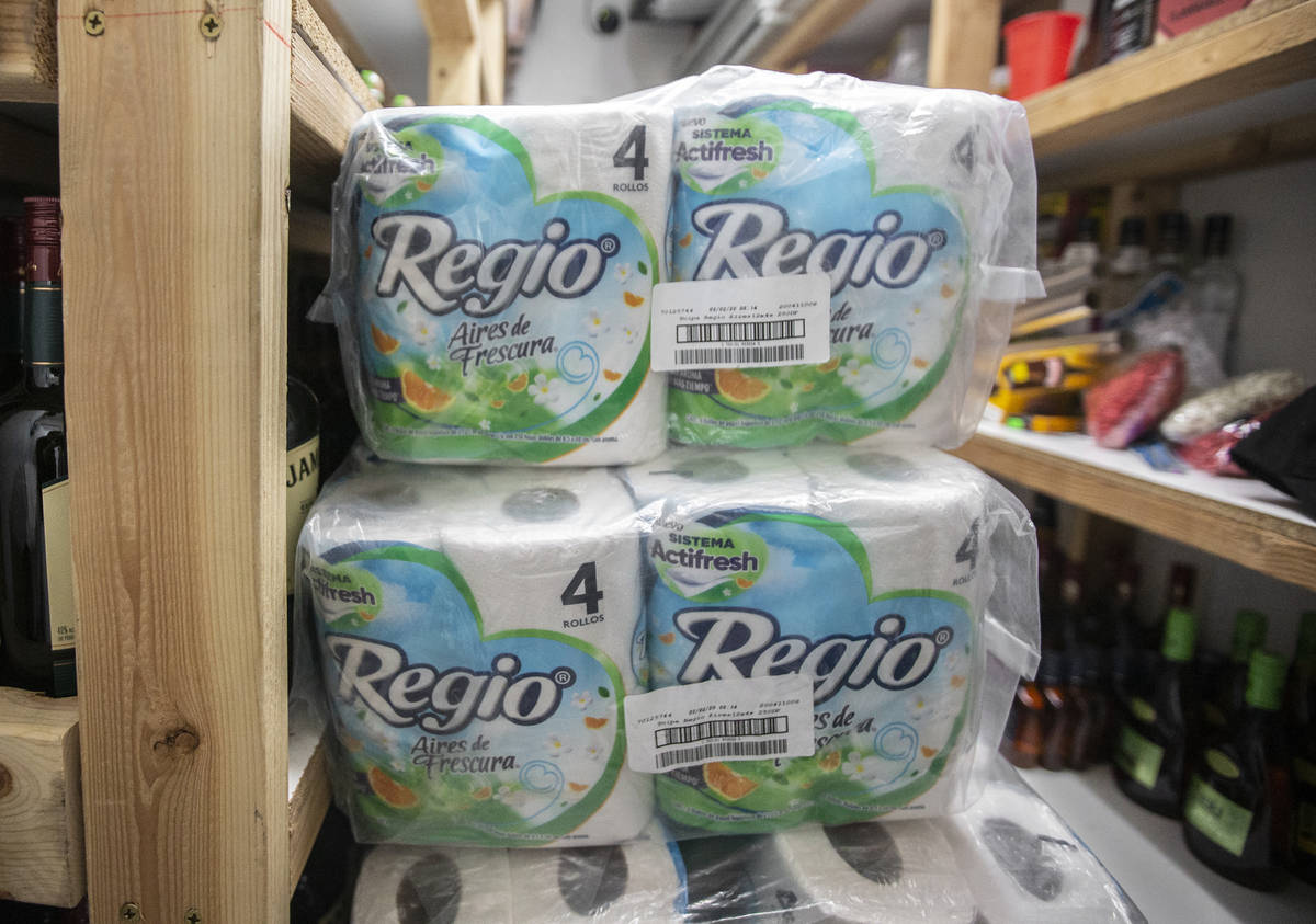 Back stock of toilet paper at Liquor Emporium on Tuesday, April 7, 2020, in Las Vegas. The busi ...
