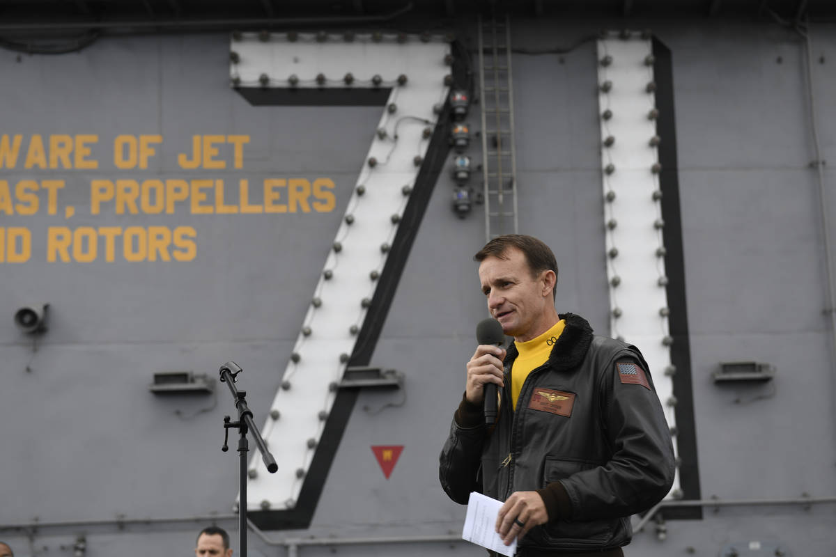 U.S. Navy Capt. Brett Crozier, commanding officer of the aircraft carrier USS Theodore Roosevel ...