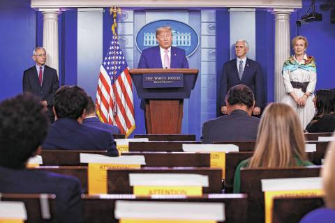 President Donald Trump speaks during a coronavirus task force briefing at the White House, Satu ...