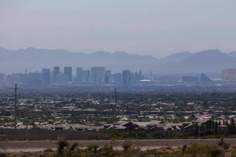 A layer of smog envelops the Las Vegas skyline on Saturday, June 30, 2018. Richard Brian Las Ve ...