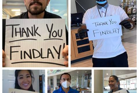 Findlay employees express their gratitude: clockwise from top left, Robert Schweizer Jr., pre-o ...