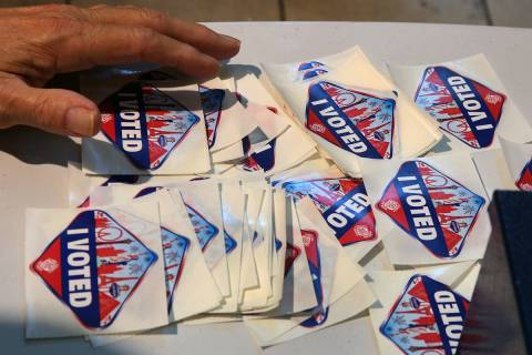 """""""I Voted"""" stickers at a polling station at Galleria Mall on Tuesday, Nov. 6, 2018, in Henderson ..."""
