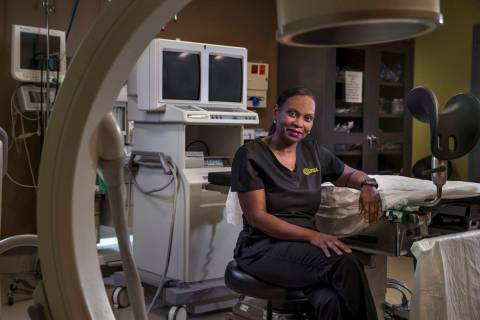 Nurse Nita Peterson sits in the surgical room of the Red Rock Fertility Center in Las Vegas. (L ...