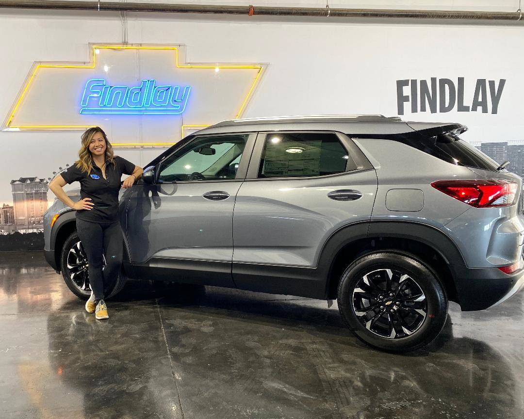 Findlay Chevrolet Marketing Director Joyce Balaoro poses with the all-new 2021 Chevrolet Trailb ...