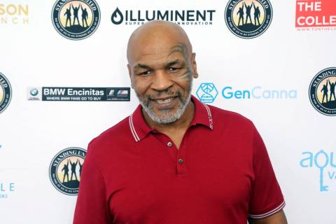 In this Aug. 2, 2019, file photo, Mike Tyson attends a celebrity golf tournament in Dana Point, ...
