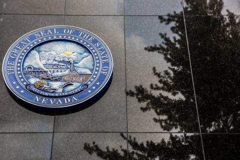 The Nevada State Seal on the north side of the Legislative Building on Thursday, Feb. 9, 2017, ...