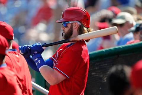 Philadelphia Phillies' Bryce Harper prepares to bat during the fourth inning of a spring traini ...