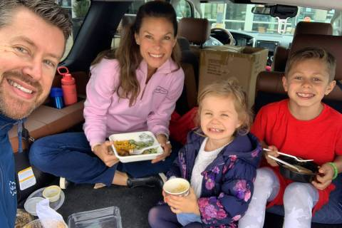NASCAR pit road reporter Jamie Little, second left, has turned the Coca-Cola 600 into a family ...