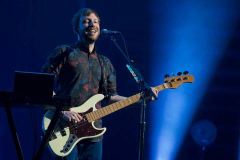 Ben McKee of Imagine Dragons plays during the band's show at T-Mobile Arena in Las Vegas, Frida ...