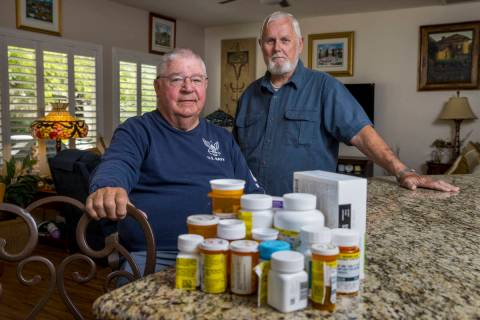 Military retirees Ken Knudsen, left, and Rich Gray are no longer allowed to use the Nellis Air ...