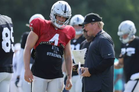 Oakland Raiders quarterback Derek Carr (4) and head coach Jon Gruden have a conversation after ...
