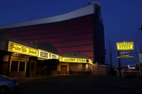 Golden Steer Steakhouse on Sahara Avenue near the Strip in Las Vegas Friday, May 22, 2020. Owne ...