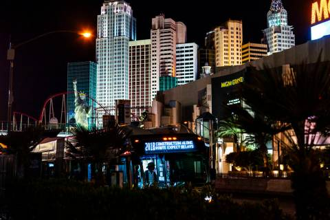 A bus stops outside of the MGM Grand in Las Vegas on Monday, March 16, 2020. (Chase Stevens/Las ...