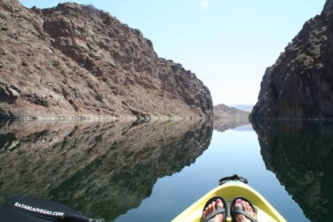 The entire 30-mile long Black Canyon National Water Trail runs from Hoover Dam south through th ...