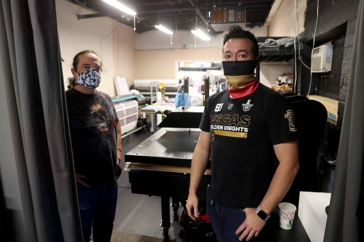 Glenn Adams, right, and former chef Jean Paul Labadie, co-owners of ApronTie, at their factory ...