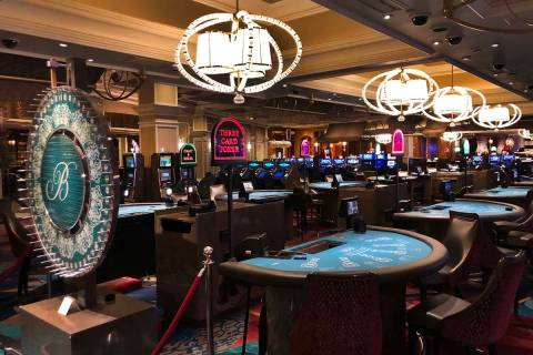 Table games are shut down within the Bellagio on March 16, 2020, in Las Vegas. (L.E. Baskow/Las ...