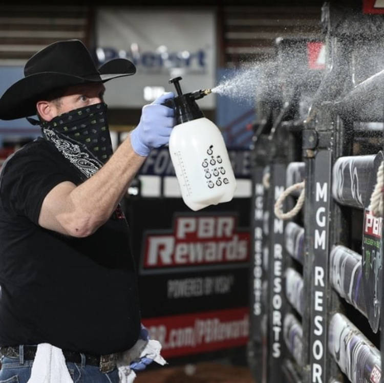 PBR Commissioner Sean Gleason at the Lazy E Arena, where PBR pioneered the return of sports to ...