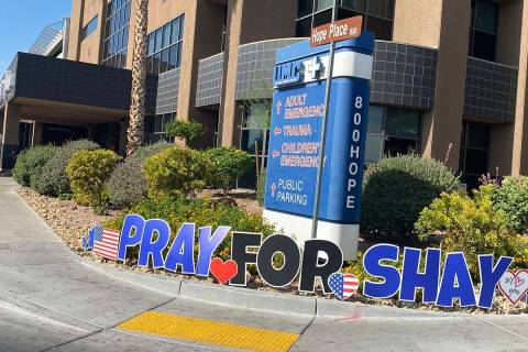 Displays of support for wounded officer Shay Mikalonis continued at University Medical Center o ...
