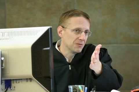 District Judge Joe Hardy Jr. speaks during a case update involving former Sen. Harry Reid at th ...