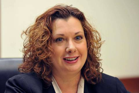 Rena Hughes, candidate for Family Court judge, Dept. J, speaks with the Review-Journal editoria ...