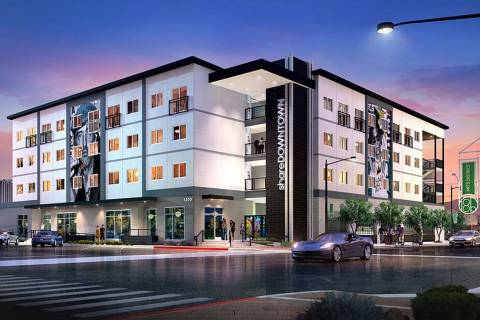The 63-unit Share Downtown apartment complex in Las Vegas' Arts District, seen in this renderin ...