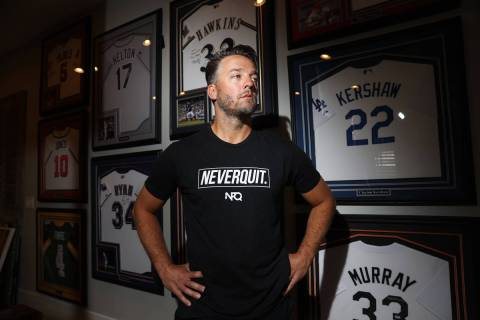 Professional baseball player Brandon Kintzler at his home in Las Vegas, Friday, June 12, 2020. ...