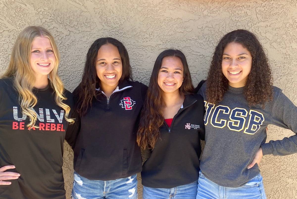 UNLV sophomore swimmer Jacklyn Scheberies poses for a photo with lifelong friends (from left to ...
