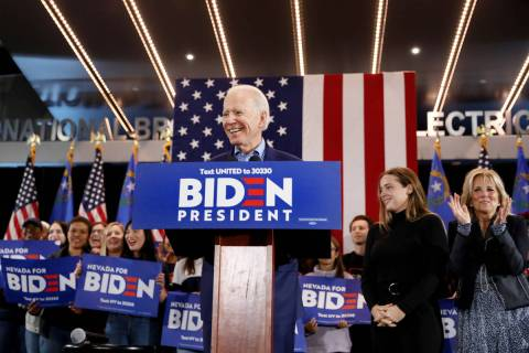 Joe Biden speaks during a caucus night event at IBEW local 357 in Las Vegas on Saturday, Feb. 2 ...
