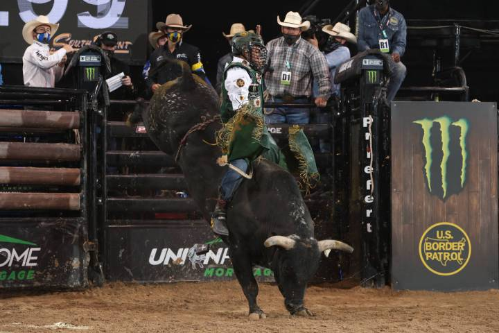 Keyshawn Whitehorse competes for Team Cooper Tires on Sunday in the Professional Bull Riders Mo ...